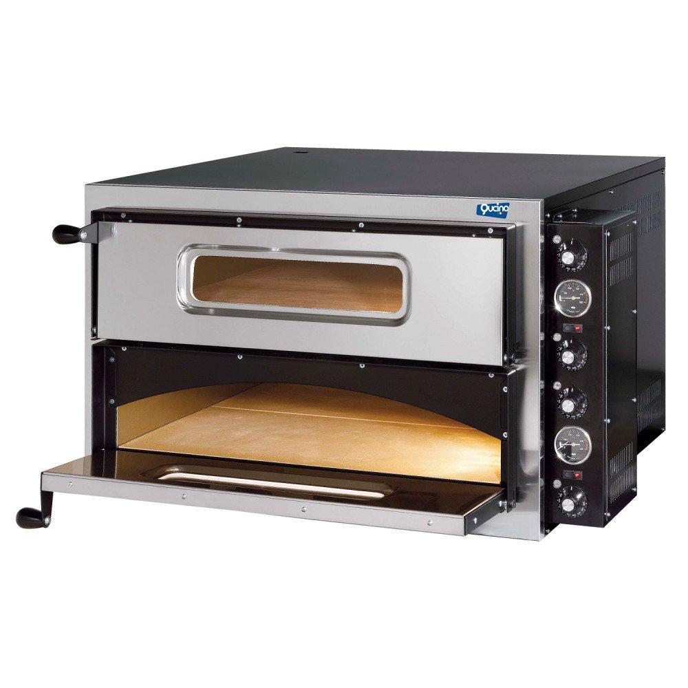 Forno Pizza Qucino Elettrico Monoblocco a Due Camere 4+4 Pizza Diametro 34