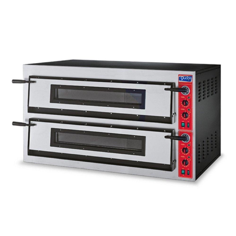 Forno Pizza Qucino Elettrico con Bocca Larga ad Alta Resa Due Camere 6+6 Pizze Diametro 35 cm