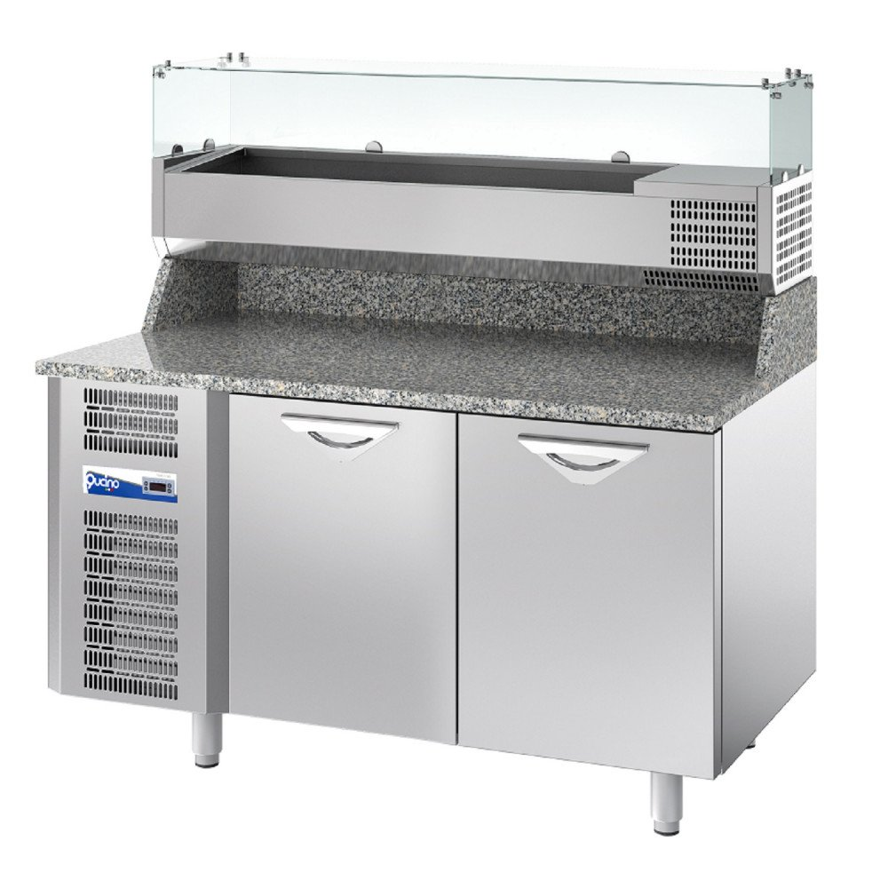 Banco Pizza Qucino Refrigerato a 2 Porte - Piano con Alzatina h. 20 cm in Granito - Mensola Refrigerata Porta Bacinelle GN 1/3 con Vetri Dritti