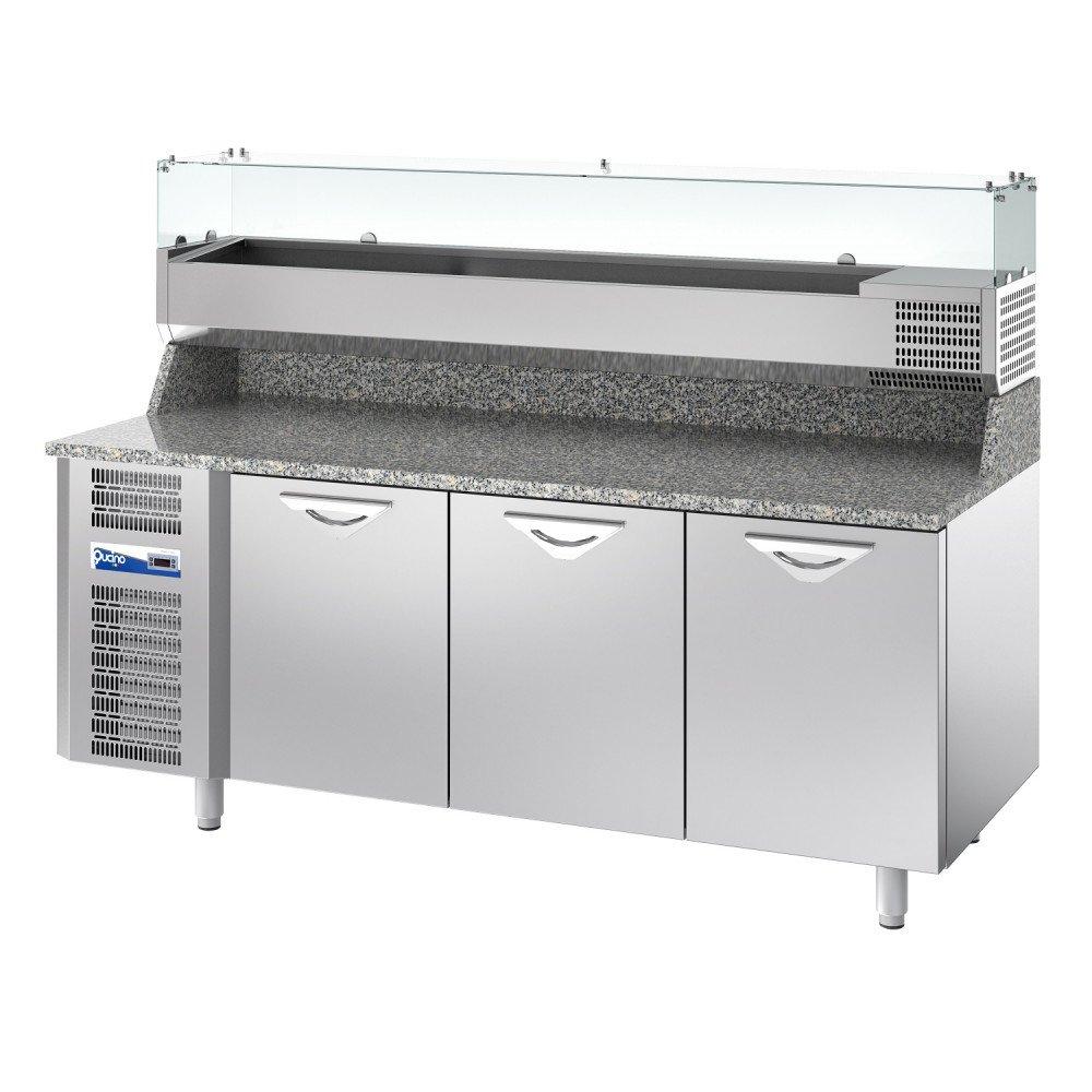 Banco Pizza Qucino Refrigerato a 3 Porte - Piano con Alzatina h. 20 cm in Granito - Mensola Refrigerata Porta Bacinelle GN 1/3 con Vetri Dritti