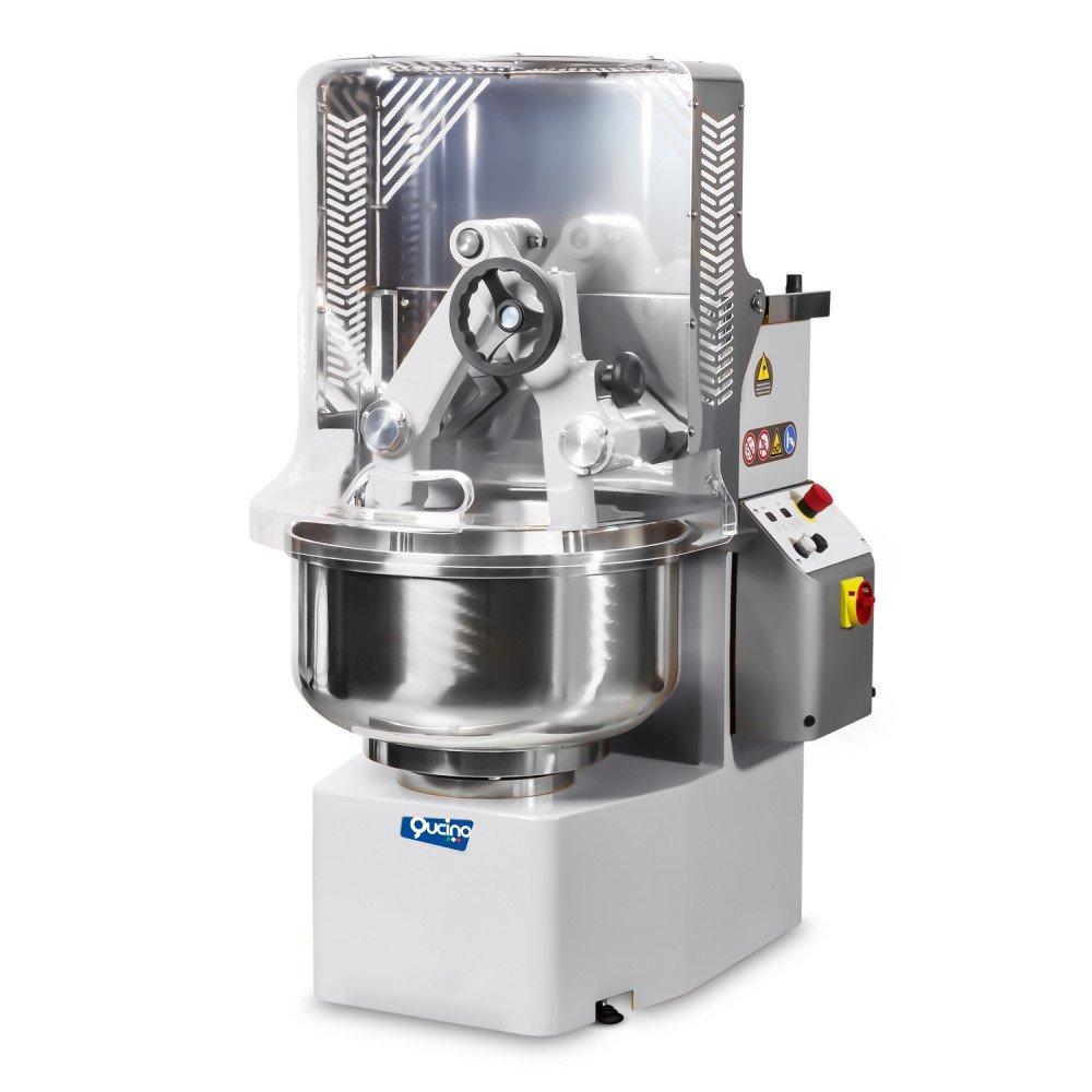 Impastatrice Qucino a Bracci Tuffanti con Capacità 45 kg - Vasca 67 Litri -  Inverter per Variazione di Velocità e Timer Digitale